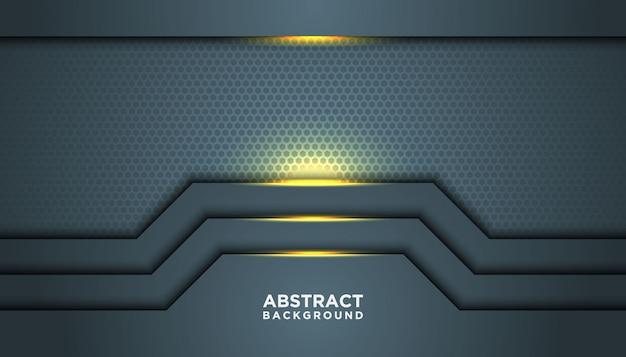 Dunkler abstrakter hintergrund mit überlappungsschichten. beschaffenheit mit goldener effektelementdekoration.