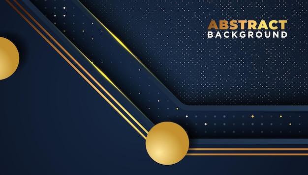 Dunkler abstrakter hintergrund mit überlappungsschichten golden glitzert punktelementdekoration luxusdesignkonzept