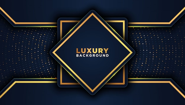 Dunkler abstrakter hintergrund mit überlappungsschichten. luxus-design-konzept. golden glitters dots element dekoration. luxus-design-konzept.