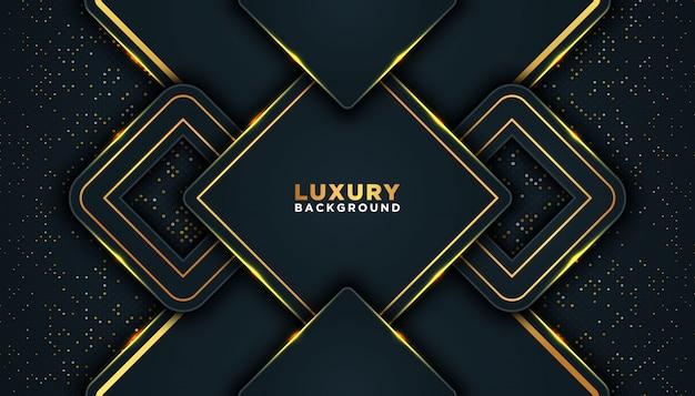Dunkler abstrakter hintergrund mit überlappungsschichten. luxus-design-konzept. golden glitzernde punkte