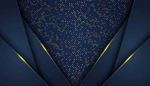 Dunkler abstrakter hintergrund mit überlappungsschichtluxusgoldenem funkeln punktiert elementdekorationsluxus