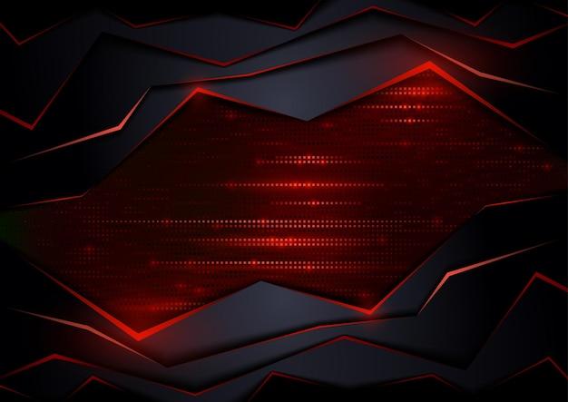 Dunkler abstrakter tech-hintergrund mit roten elementen