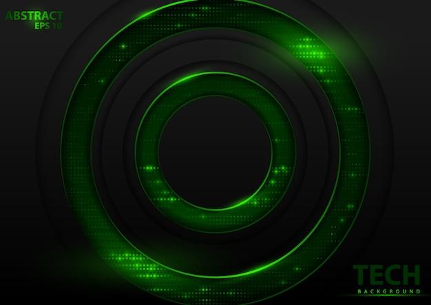 Dunkler abstrakter technischer hintergrund mit grünen elementen