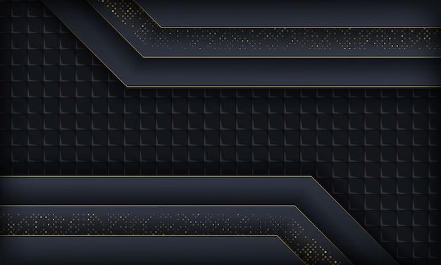 Dunkler auszug mit blauen deckschichten. beschaffenheit mit goldenem funkeln punktiert element und quadratisches geometrisches.