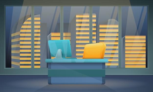 Dunkler büroraum mit einem stuhl und einem computer mit stadtansichten, vektorillustration