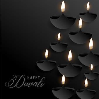 Dunkler diwali hintergrund mit sich hin- und herbewegenden diyas