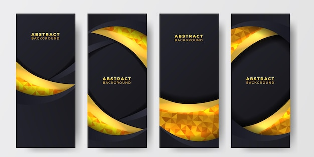 Dunkler eleganter luxushintergrund mit goldener element-social-media-geschichten-bannerschablone der wellenkurve