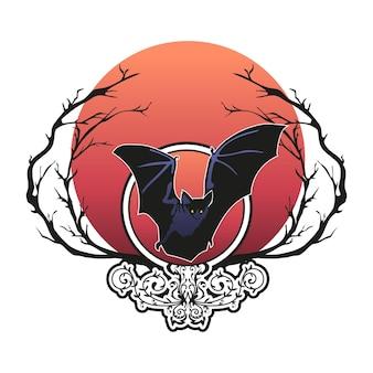 Dunkler flügel der fledermausfliege, halloween-vektorillustration