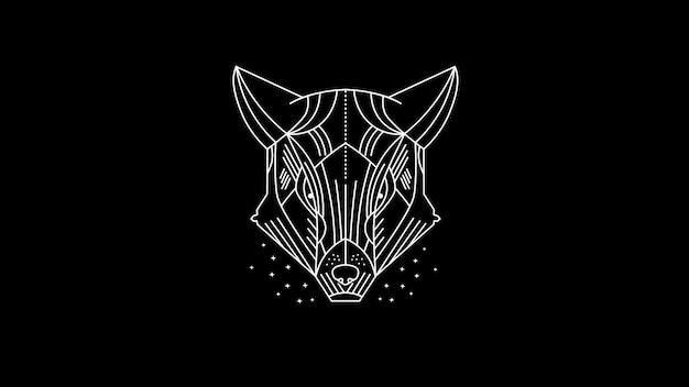 Dunkler gepard / wolf / wildes tier / linie kunstillustration