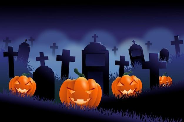 Dunkler halloween-hintergrund mit friedhof