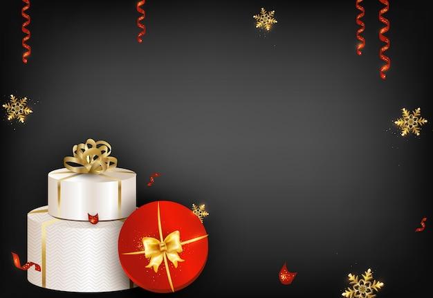 Dunkler hintergrund der frohen weihnachten und des guten rutsch ins neue jahr mit geschenken