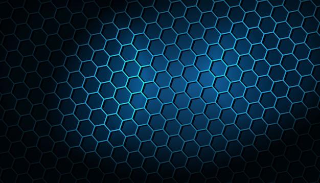 Dunkler hintergrund mit blauem sechseckigem muster