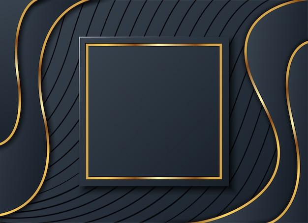 Dunkler hintergrund mit goldenem quadrat und schatten,