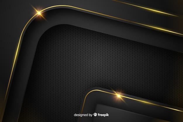 Dunkler hintergrund mit goldenen abstrakten formen