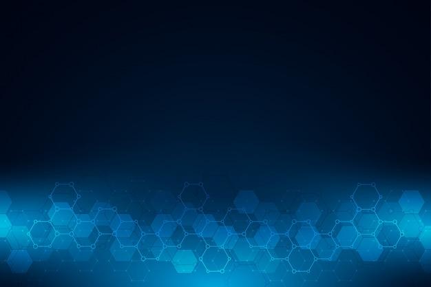 Dunkler hintergrund mit hexagonmuster