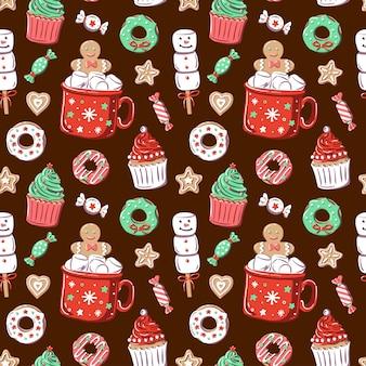 Dunkler hintergrund mit roter tasse, marshmallow, cupcake, donut, süßigkeiten, lebkuchen.