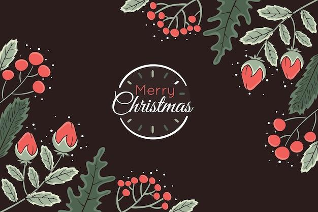 Dunkler hintergrund mit weihnachtselementen