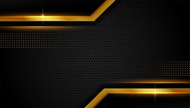 Dunkler hintergrundentwurf der abstrakten goldenen linien luxus