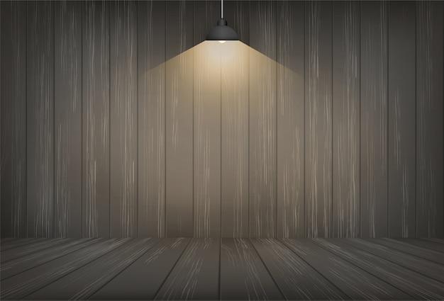 Dunkler hölzerner raumraumhintergrund und glühlampe.
