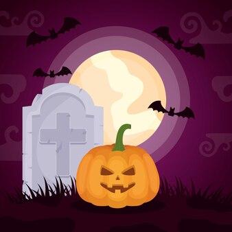 Dunkler kirchhof halloweens mit kürbis