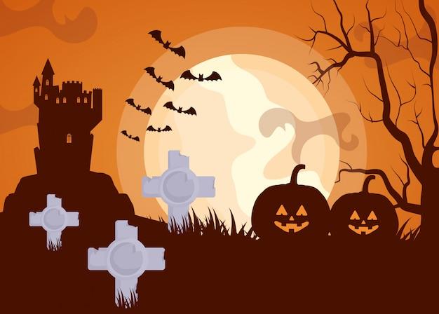 Dunkler kirchhof halloweens mit kürbisen