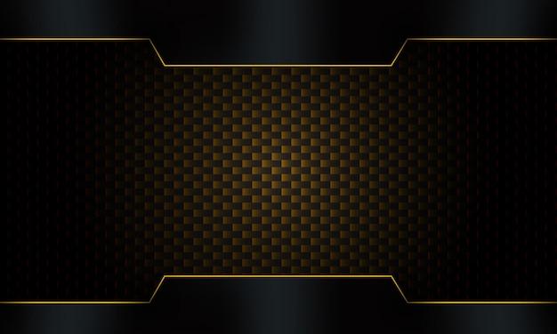 Dunkler kohlefaserhintergrund mit abstraktem schwarzem metallrahmen mit goldenen streifen