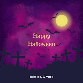 Dunkler lila halloween-aquarellhintergrund