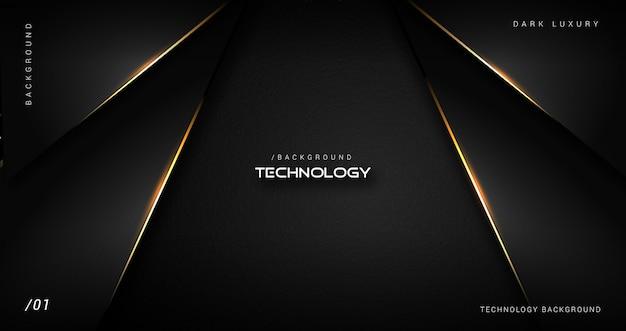 Dunkler luxustechnologie-hintergrund mit goldgrenze