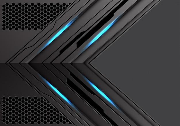 Dunkler metallischer pfeilblaulicht-energierichtungshintergrund.