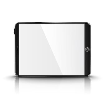 Dunkler moderner tablet-computer mit leerem bildschirm lokalisiert auf weißem hintergrund mit reflexion und platz für ihr design und branding.