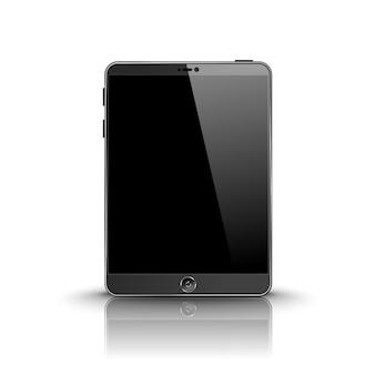 Dunkler moderner tablet-computer mit schwarzem bildschirm isoliert auf weißem hintergrund mit reflexion