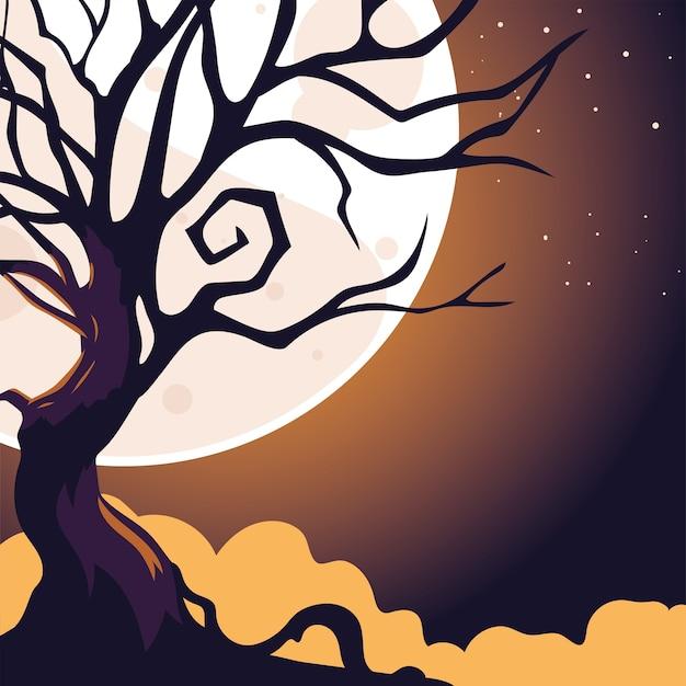 Dunkler nachthintergrund halloween mit vollmond und unheimlichem baum.