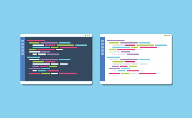 Dunkler oder weißer themenprogrammier-texteditor vergleichen