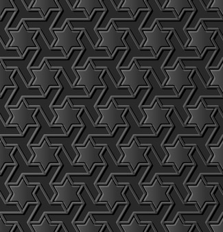 Dunkler papierkunst islamische geometriekreuzmuster nahtloser hintergrund