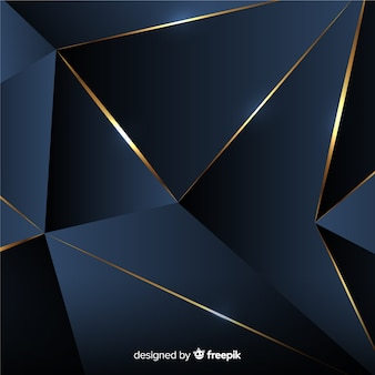Dunkler polygonaler hintergrund mit goldenen linien
