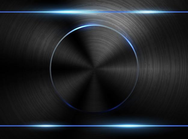 Dunkler realistischer strukturierter poliermetallhintergrund des vektors. industrielles design der blauen neonlicht-technologie. schwarz gebürstete platte