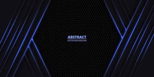 Dunkler sechseckiger spielerischer sportlicher hintergrund mit blauen leuchtenden linien