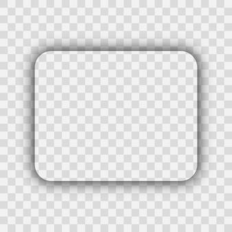 Dunkler transparenter realistischer schatten. abgerundeter rechteckschatten lokalisiert auf transparentem hintergrund. vektor-illustration.