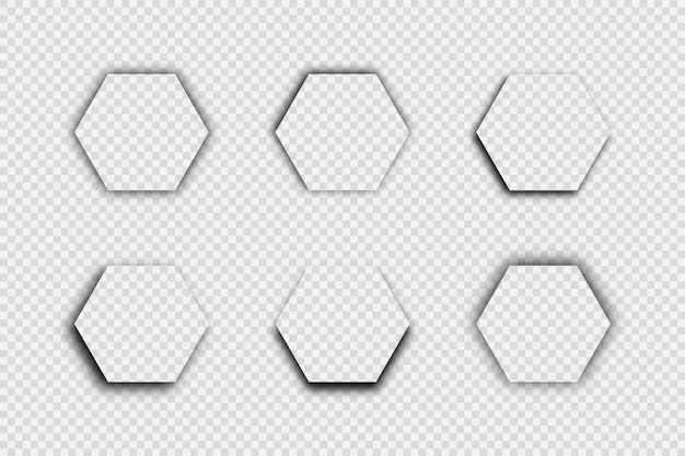 Dunkler transparenter realistischer schatten. satz von sechs hexagonschatten lokalisiert auf transparentem hintergrund. vektor-illustration.