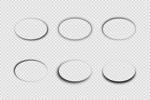 Dunkler transparenter realistischer schatten. satz von sechs ovalen schatten getrennt auf transparentem hintergrund. vektor-illustration.