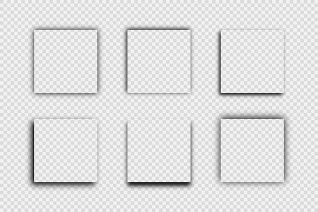 Dunkler transparenter realistischer schatten. satz von sechs quadratischen schatten getrennt auf transparentem hintergrund. vektor-illustration.