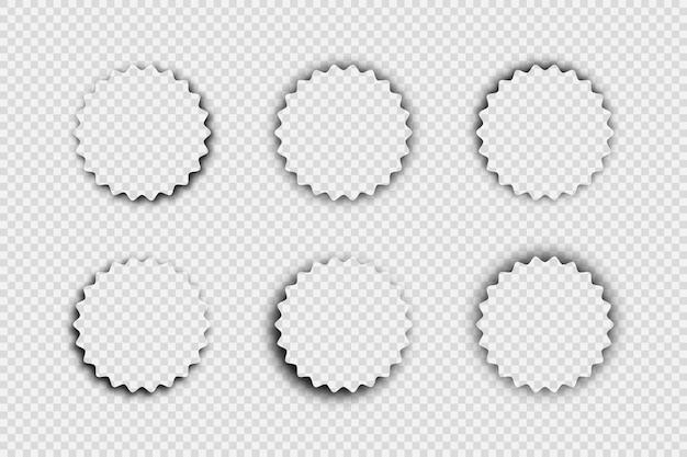 Dunkler transparenter realistischer schatten. satz von sechs runden schatten getrennt auf transparentem hintergrund. vektor-illustration.