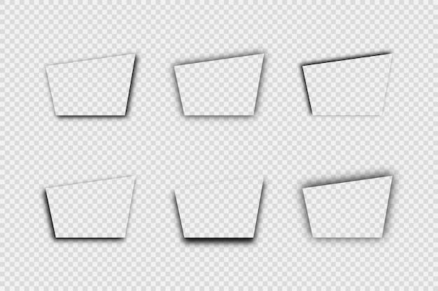 Dunkler transparenter realistischer schatten. satz von sechs trapezförmigen schatten auf transparentem hintergrund. vektor-illustration.