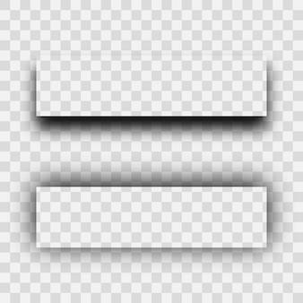 Dunkler transparenter realistischer schatten. satz von zwei rechteckenschatten lokalisiert auf transparentem hintergrund. vektor-illustration.