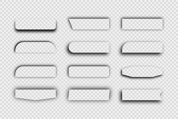 Dunkler transparenter realistischer schatten. satz von zwölf rechteckigen schatten getrennt auf transparentem hintergrund. vektor-illustration.