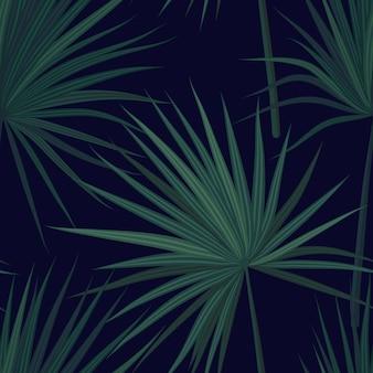 Dunkler tropischer hintergrund mit dschungelpflanzen. nahtloses tropisches muster mit grünen phönixpalmenblättern. illustration.