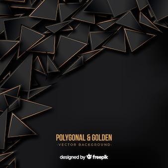Dunkler und goldener polygonaler hintergrund