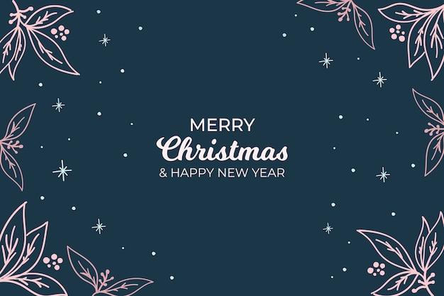 Dunkler weihnachtshintergrund mit schönen modernen blumen