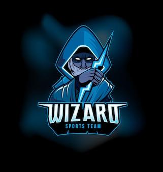 Dunkler zauberer, der blitz-sport-spiel logo mascot hält