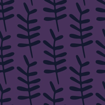 Dunkles botanisches nahtloses gekritzelmuster mit zweigformen. lila hintergrund. blumige einfache kulisse.